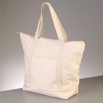 Baumwollartikel Tasche mit Reissver. -  natur